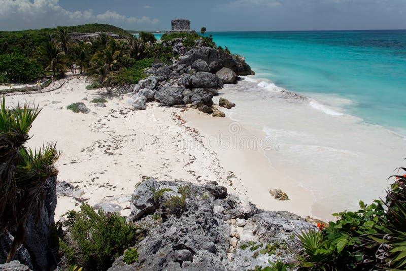το Μεξικό καταστρέφει το tulum yucatan ναών στοκ εικόνα με δικαίωμα ελεύθερης χρήσης