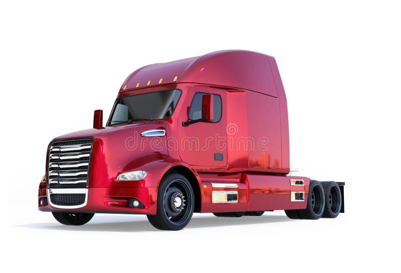 Το μεταλλικό κόκκινο κύτταρο καυσίμου τροφοδότησε την αμερικανική καμπίνα φορτηγών που απομονώθηκε στο άσπρο υπόβαθρο διανυσματική απεικόνιση