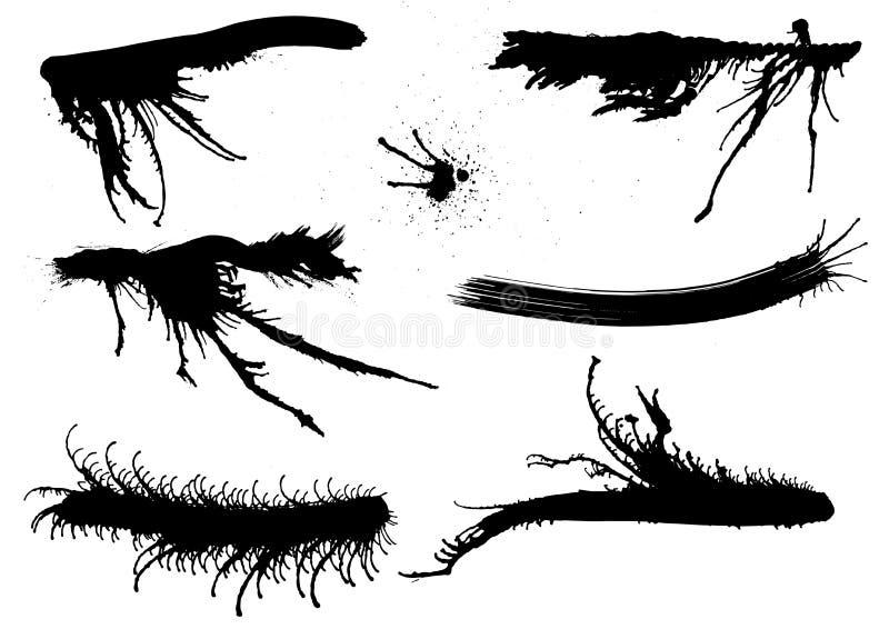 Το μελάνι λεκιάζει περίεργα. διανυσματική απεικόνιση