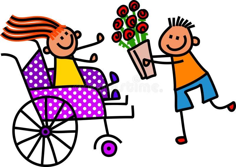 Το με ειδικές ανάγκες κορίτσι παίρνει τα λουλούδια απεικόνιση αποθεμάτων