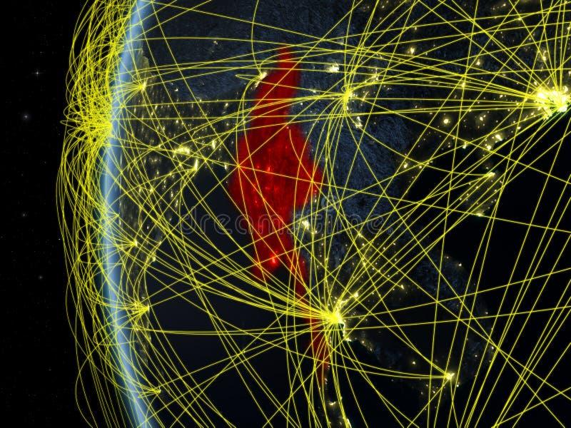 Το Μιανμάρ από το διάστημα με το δίκτυο στοκ εικόνα
