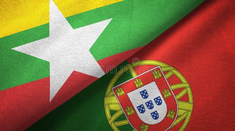 Το Μιανμάρ και Πορτογαλία δύο υφαντικό ύφασμα σημαιών, σύσταση υφάσματος διανυσματική απεικόνιση