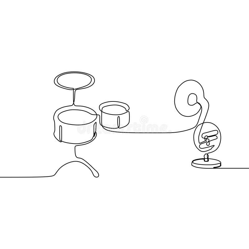 το μικρά τύμπανο και το τρομπόνι ένα γραμμών συνεχές διανυσματικό περίγραμμα οργάνων γραμμών παραδοσιακό μουσικό θέτουν για το δι διανυσματική απεικόνιση