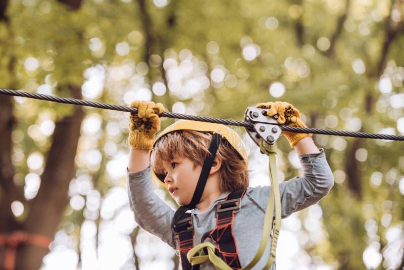 Το μικρό αγόρι απολαμβάνει τα έτη παιδικής ηλικίας Υψηλός περίπατος σχοινιών Χαριτωμένο αγόρι παιδιών σχολείου που απολαμβάνει μι στοκ εικόνα με δικαίωμα ελεύθερης χρήσης