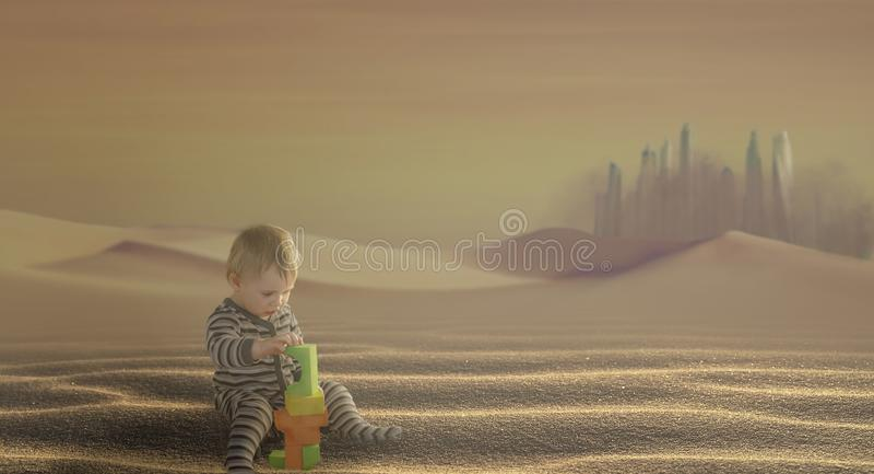 Το μικρό αγόρι χτίζει έναν πύργο παιχνιδιών στην έρημο, στο φόντο της μεγάλης πόλης, μέσα στην αμμοθύελλα στοκ φωτογραφία με δικαίωμα ελεύθερης χρήσης