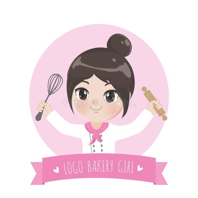 Το μικρό γλυκό ροζ λογότυπων κοριτσιών αρτοποιείων απεικόνιση αποθεμάτων