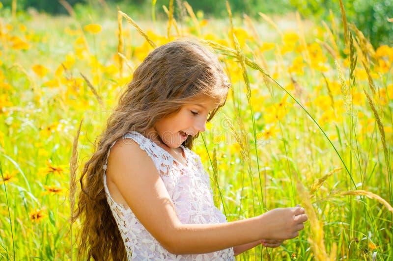 Το μικρό κορίτσι με μακρυμάλλη σε ένα άσπρο φόρεμα χαίρεται για έναν τομέα με τα λουλούδια στοκ εικόνα με δικαίωμα ελεύθερης χρήσης