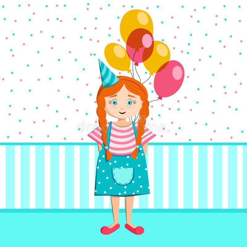 Το μικρό κορίτσι με μια δέσμη των μπαλονιών γιορτάζει τα γενέθλια απεικόνιση αποθεμάτων