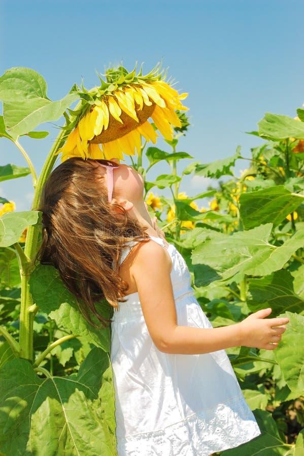 Το μικρό κορίτσι μυρίζει τον ηλίανθο στοκ εικόνα με δικαίωμα ελεύθερης χρήσης