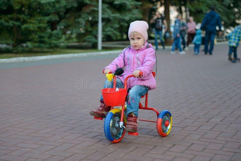Το μικρό κορίτσι οδηγά σε ένα πάρκο σε ένα τρίκυκλο στοκ εικόνες με δικαίωμα ελεύθερης χρήσης
