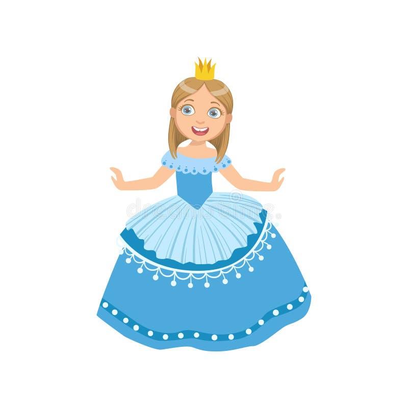 Το μικρό κορίτσι στο μπλε φόρεμα έντυσε ως πριγκήπισσα παραμυθιού απεικόνιση αποθεμάτων