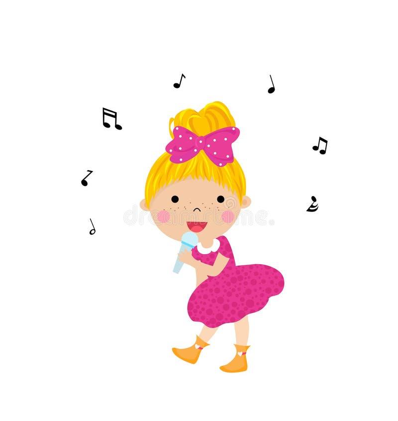 Το μικρό κορίτσι τραγουδά διανυσματική απεικόνιση