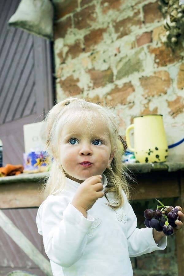 Το μικρό κορίτσι τρώει τα φρέσκα σταφύλια στοκ εικόνες