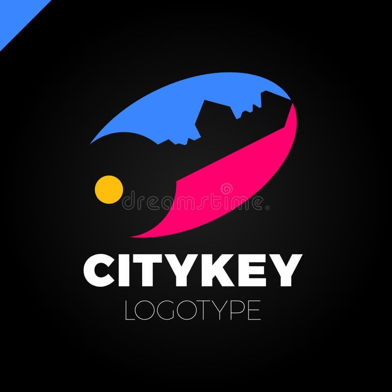 Το μικρό λογότυπο πόλεων του οικοδόμου, στεγάζει το κλειδί που απομονώνεται Σκιαγραφία της αρχιτεκτονικής πόλεων ` s επίσης corel ελεύθερη απεικόνιση δικαιώματος