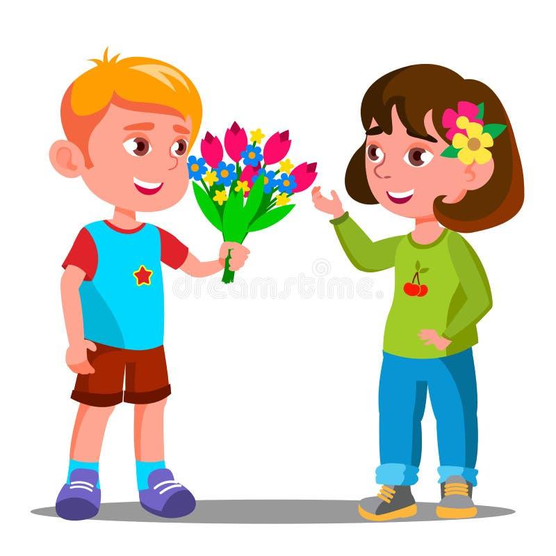 Το μικρό παιδί δίνει τα λουλούδια στο διάνυσμα μικρών κοριτσιών απομονωμένη ωθώντας s κουμπιών γυναίκα έναρξης χεριών απεικόνιση απεικόνιση αποθεμάτων