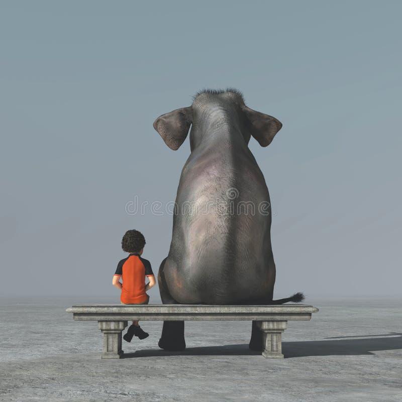 Το μικρό παιδί και ένας ελέφαντας κάθονται σε μια τράπεζα διανυσματική απεικόνιση
