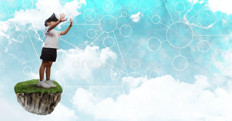 Το μικρό παιδί που φορά την εικονική κάσκα στην επιπλέουσα πλατφόρμα βράχου στον ουρανό με τους συνδετήρες διασυνδέει διανυσματική απεικόνιση