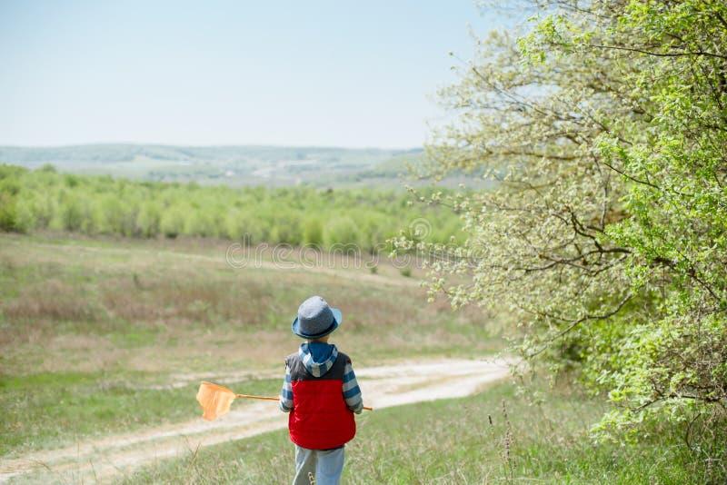 Το μικρό παιδί στο μπλε καπέλο και ένα κόκκινο περιβάλλουν με καθαρό έναν διαθέσιμο πεταλούδων στοκ εικόνα με δικαίωμα ελεύθερης χρήσης