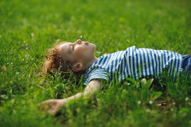 Το μικρό παιδί βρίσκεται στον τομέα σε μια πράσινη χλόη στοκ φωτογραφία με δικαίωμα ελεύθερης χρήσης