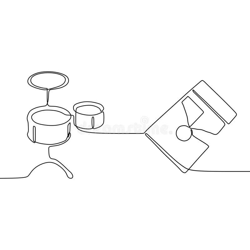 το μικρό τύμπανο και η τετραγωνική κιθάρα ένα γραμμών συνεχές διανυσματικό περίγραμμα οργάνων γραμμών παραδοσιακό μουσικό θέτουν  διανυσματική απεικόνιση