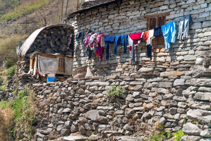 Το μικρό χωριό στη διαδρομή ιχνών Annapurna στοκ φωτογραφία με δικαίωμα ελεύθερης χρήσης