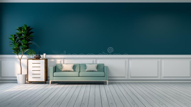 Το μινιμαλιστικό εσωτερικό σχέδιο δωματίων, ο μπλε καναπές με τις εγκαταστάσεις και το ξύλινο γραφείο στο άσπρο δάπεδο και ο πράσ διανυσματική απεικόνιση