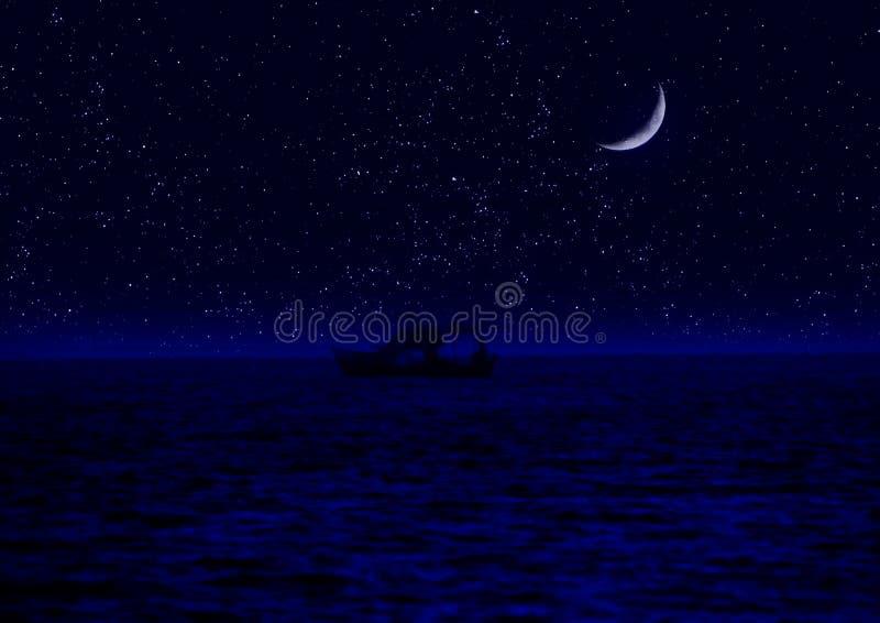 Το μισό από το φεγγάρι που απεικονίζεται στο νερό απεικόνιση αποθεμάτων