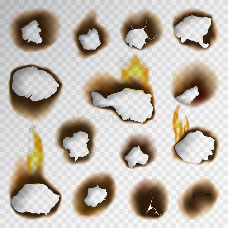 Το μμένο κομμάτι έκαψε την εξασθενισμένη εγγράφου τρυπών ρεαλιστική πυρκαγιάς φλογών διανυσματική απεικόνιση τέφρας σελίδων σχισμ απεικόνιση αποθεμάτων