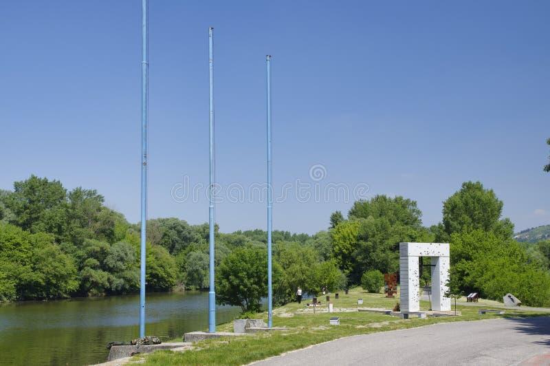 Το μνημείο σιδερένιων αυλαιών, Μπρατισλάβα, Σλοβακία στοκ φωτογραφία