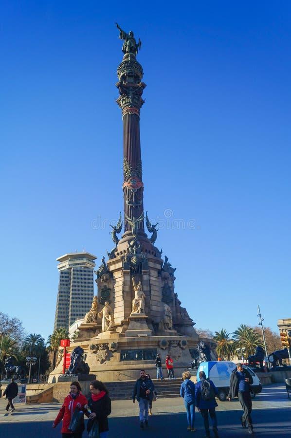Το μνημείο του Columbus είναι ένα ψηλό μνημείο 60 μ στο Christopher Columbus στο χαμηλότερο όριο του Λα Rambla στοκ φωτογραφία με δικαίωμα ελεύθερης χρήσης
