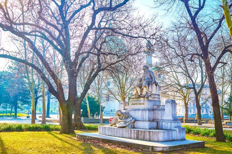 Το μνημείο του Johannes Brahms στη Βιέννη, Αυστρία στοκ φωτογραφία