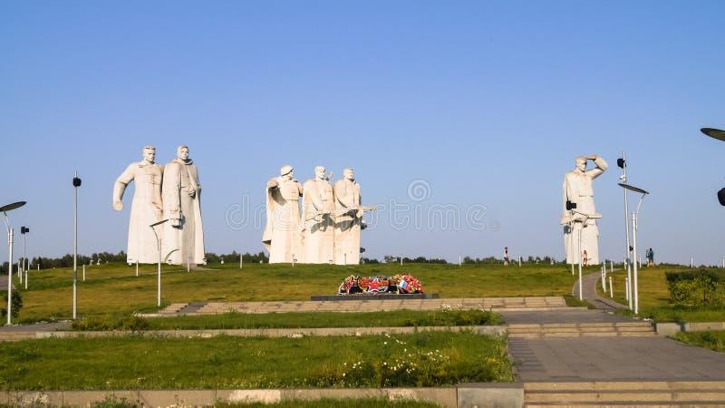 Το μνημείο των λαμπρών ηρώων του τμήματος Panfilov, νικημένοι φασίστες στη Μόσχα μάχεται, Dubosekovo, περιοχή της Μόσχας, της Ρωσ στοκ φωτογραφία