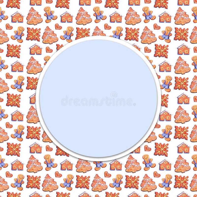 Το μολύβι χρώματος σύρει την απεικόνιση συρμένης ευχετήριας κάρτας διακοπών καλής χρονιάς Χαρούμενα Χριστούγεννας σκίτσων της χέρ απεικόνιση αποθεμάτων