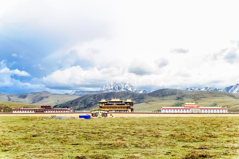 Το μοναστήρι Gyergo και τοποθετεί Yala από το λιβάδι tagong Sichuan στην επαρχία στοκ φωτογραφίες