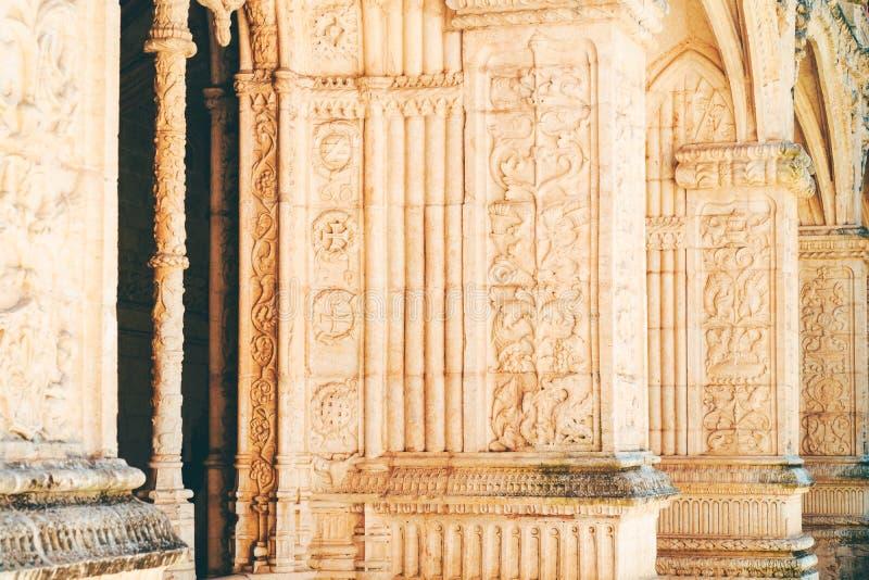 Το μοναστήρι Hieronymites Jeronimos Αγίου Jerome στη Λισσαβώνα, Πορτογαλία χτίζεται στο πορτογαλικό πρόσφατο γοτθικό ύφος Manueli στοκ εικόνες