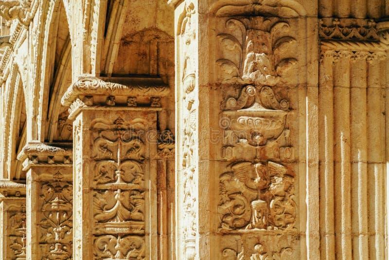Το μοναστήρι Hieronymites Jeronimos Αγίου Jerome στη Λισσαβώνα, Πορτογαλία χτίζεται στο πορτογαλικό πρόσφατο γοτθικό ύφος Manueli στοκ φωτογραφία με δικαίωμα ελεύθερης χρήσης