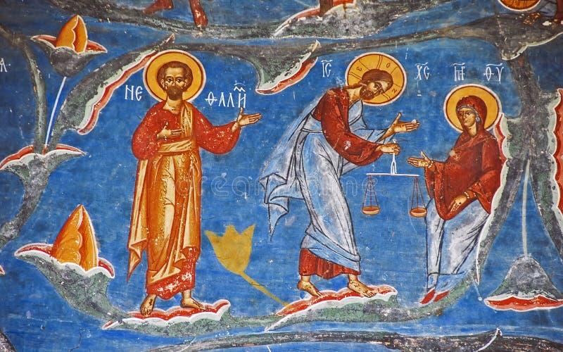 Το μοναστήρι Voronet. Λεπτομέρειες των χρωματισμένων εξωτερικών τοίχων. στοκ εικόνες με δικαίωμα ελεύθερης χρήσης
