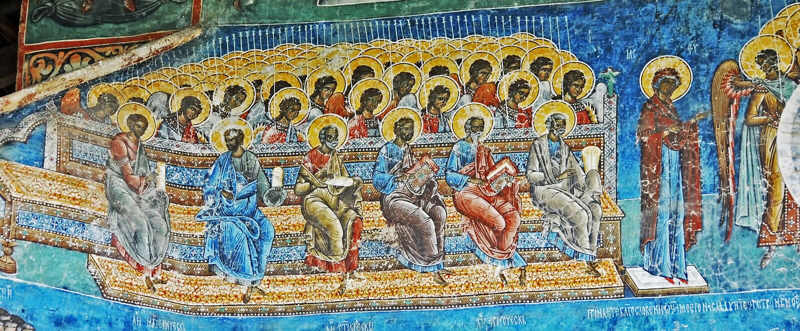 Το μοναστήρι Voronet. Λεπτομέρειες των χρωματισμένων εξωτερικών τοίχων. στοκ φωτογραφίες
