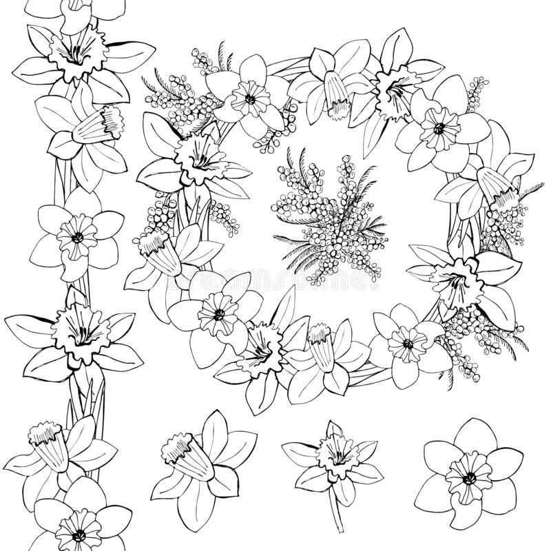 Το μονοχρωματικό στεφάνι, η ατελείωτοι βούρτσα και οι οφθαλμοί της άνοιξη ανθίζουν με τα φύλλα που απομονώνονται στο άσπρο υπόβαθ ελεύθερη απεικόνιση δικαιώματος
