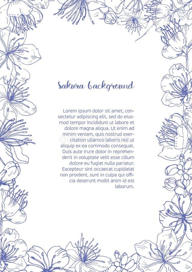 Το μονοχρωματικό υπόβαθρο με το floral πλαίσιο αποτελέσθηκε από τα όμορφους ανθίζοντας λουλούδια και τους οφθαλμούς του ιαπωνικού διανυσματική απεικόνιση