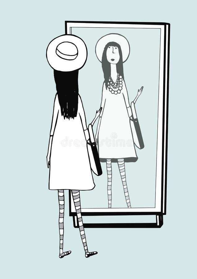 Το μοντέρνο κορίτσι κοιτάζει στον καθρέφτη Γυναίκα με το μοντέρνο, αναδρομικό καπέλο εξαρτημάτων, ριγωτά καλσόν, τσάντα συρμένο δ ελεύθερη απεικόνιση δικαιώματος