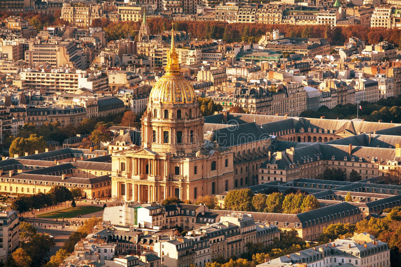 Το μουσείο στρατού εναέρια άποψη του Παρισιού, Γαλλία στοκ εικόνα με δικαίωμα ελεύθερης χρήσης