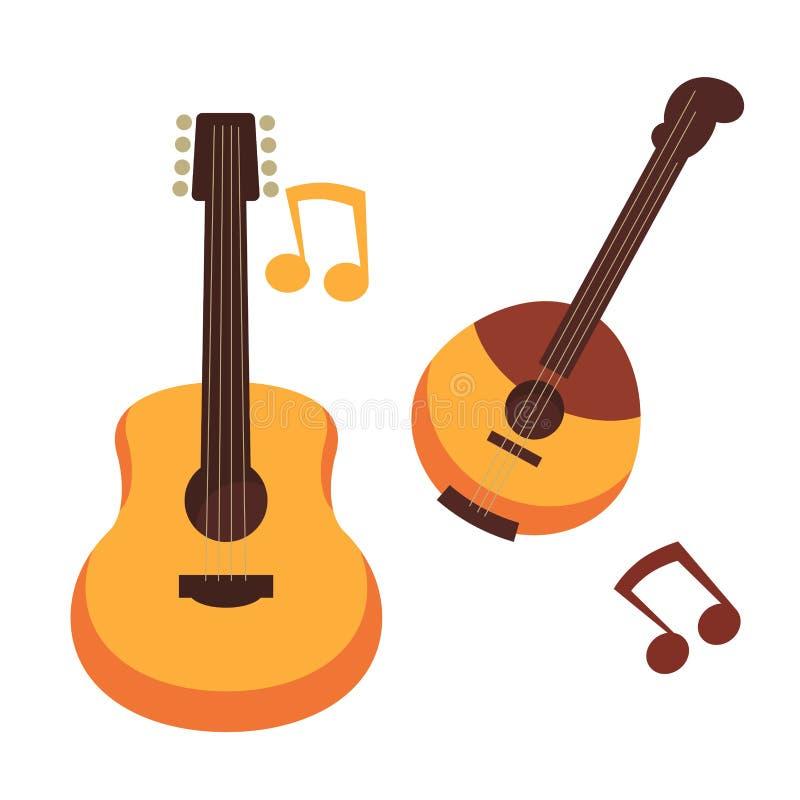 Το μουσικό διάνυσμα κιθάρων οργάνων ή σημειώσεων μπάντζο και μουσικής απομόνωσε τα επίπεδα εικονίδια ελεύθερη απεικόνιση δικαιώματος