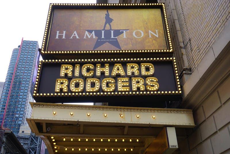 Το μουσικό Χάμιλτον στο θέατρο Rodgers στη Νέα Υόρκη στοκ εικόνες