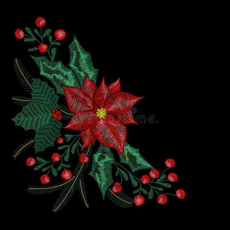 Το μπάλωμα κεντητικής Χριστουγέννων, στεφάνι με το γκι, λουλούδια, δέντρο, κάλαντα φυτεύει το σχέδιο για τη νέα διακόσμηση έτους διανυσματική απεικόνιση