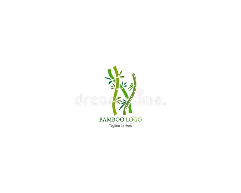 Το μπαμπού με την πράσινη έννοια φύλλων το πρότυπο λογότυπων διανυσματική απεικόνιση