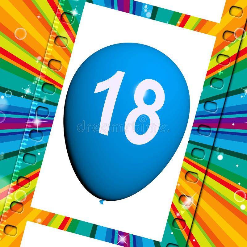 Το μπαλόνι αντιπροσωπεύει τους δέκατους όγδοους χρόνια πολλά εορτασμούς απεικόνιση αποθεμάτων