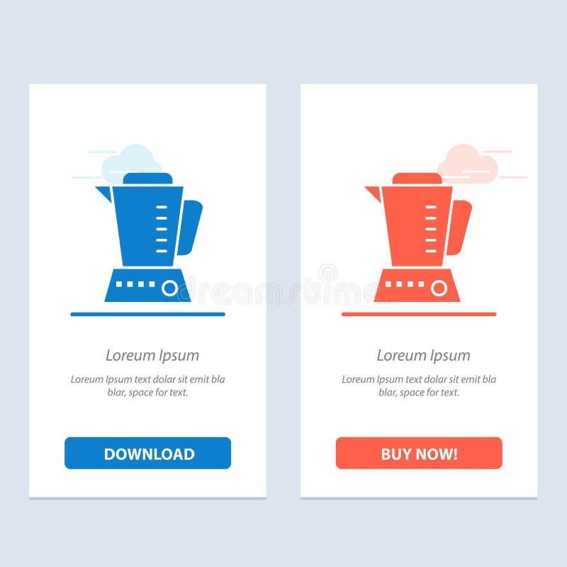 Το μπλέντερ, ηλεκτρικός, το σπίτι, η μηχανή μπλε και το κόκκινο μεταφορτώνουν και αγοράζουν τώρα το πρότυπο καρτών Widget Ιστού απεικόνιση αποθεμάτων