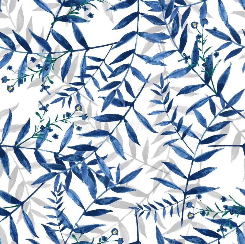 Το μπλε αφήνει το άνευ ραφής χρωματισμένο χέρι υπόβαθρο watercolor ελεύθερη απεικόνιση δικαιώματος