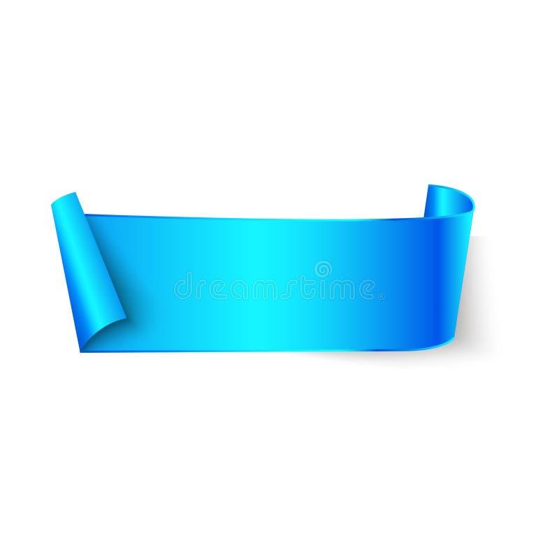 Το μπλε κενό έγγραφο έκαμψε το έμβλημα κορδελλών με τους ρόλους εγγράφου που απομονώθηκαν στο άσπρο υπόβαθρο Διανυσματική κενή θέ διανυσματική απεικόνιση